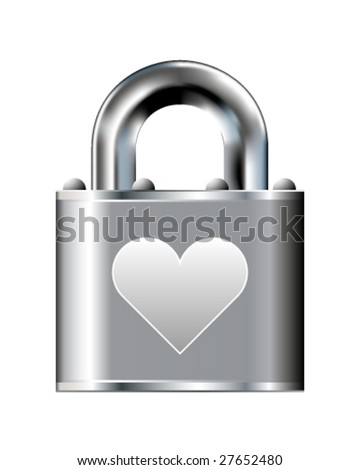 Secure heart or love icon on stainless steel padlock vector button