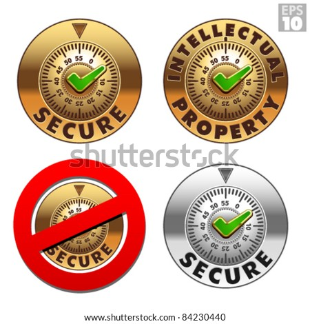 Secure, intellectual property safe, locked, not secured vault icons - stock vector