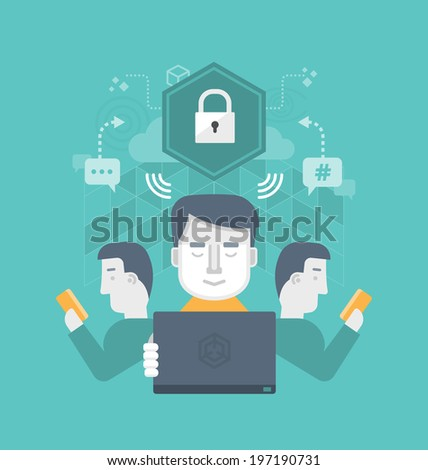 Secure internet communication. Different users safely share information through internet communication - stock vector