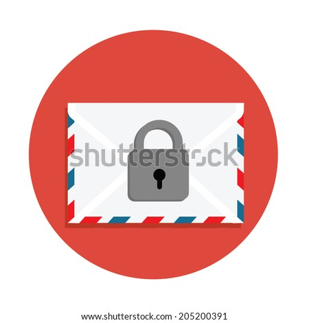 Secure Mail icon.Mailing envelope locked with padlock - stock vector