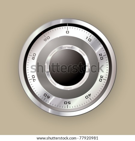 Secure safe dial in silver metal with web concept