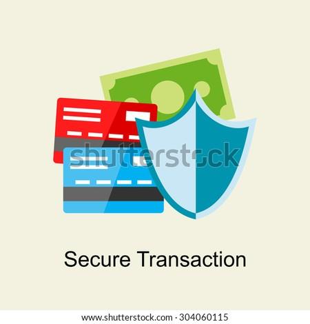 Secure transaction concept. Flat design. - stock vector