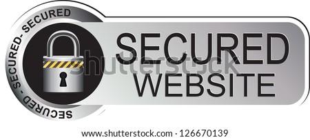 Secure Website Silver Sticker - stock vector