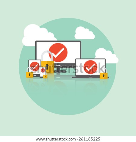 Security and Cloud Technology Concept. - stock vector