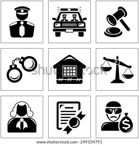 Security and law icon set - stock vector