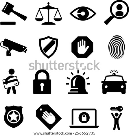 Security and legal theme icon set. Vector icons for digital and print projects. - stock vector