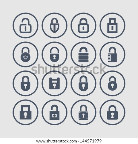Security and lock icons - stock vector