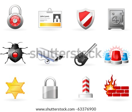 Security and Safety icons - stock vector