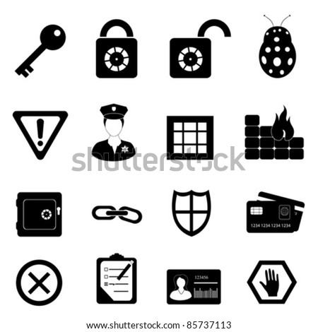 Security and safety related icon set - stock vector