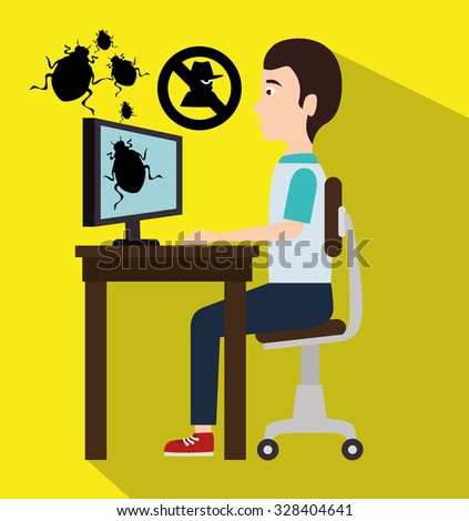 Security and surveillance system over yellow background, vector graphic.