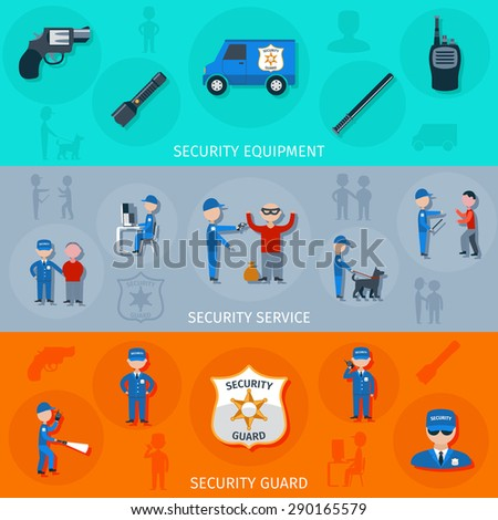 Security armed safeguard operative service duties and equipment flat horizontal banners set abstract isolated vector illustration - stock vector