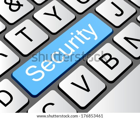 Security button concept, computer keyboard with word security