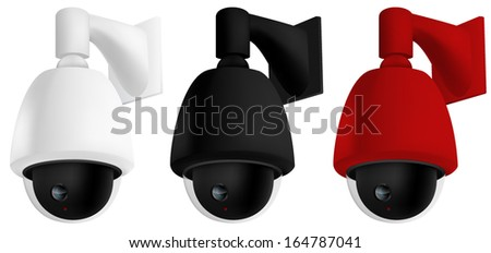Security camera mounted on wall - stock vector