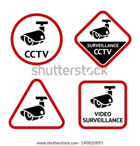 Security camera, sticky labels, vector illustration - stock vector