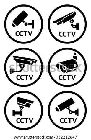 Security Camera Symbols Set Vector Illustration Stock Vector