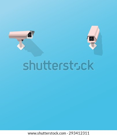 Security camera watching another security camera - stock vector