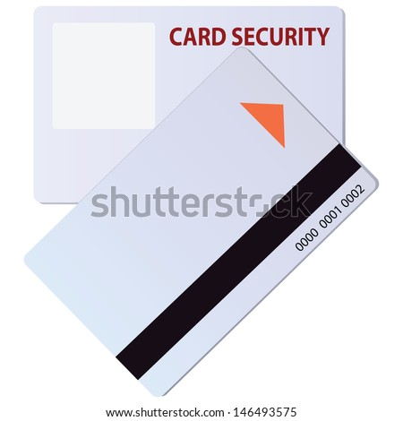 Security card with a magnetic strip for identification. Vector illustration. - stock vector