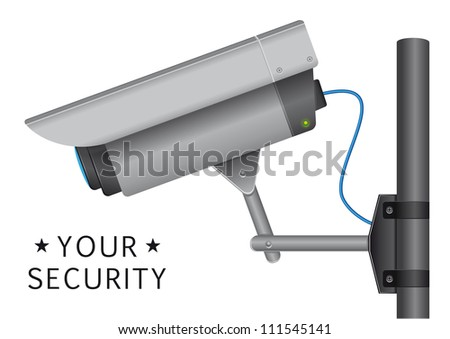 security cctv camera with open lens and wires and text - stock vector