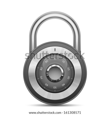 Security combination lock. Vector illustration of padlock - stock vector