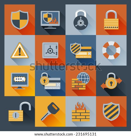 Security computer network data safe flat icons set with firewall monitor padlock elements isolated vector illustration - stock vector