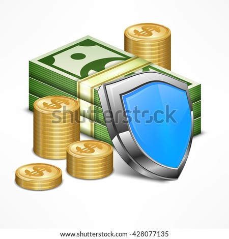 Security concept for business money with shield vector illustration. Icon for business, money sign, dollar cash, infographic element.  - stock vector