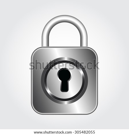 Security concept with design of metal silver padlock, vector illustration - stock vector
