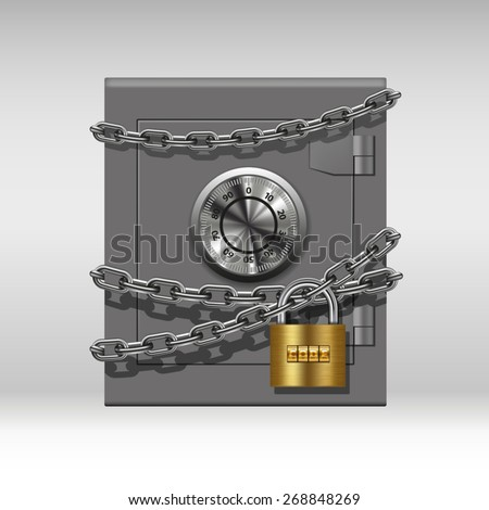 Security concept with metal safe, chain and padlock. Vector illustration - stock vector