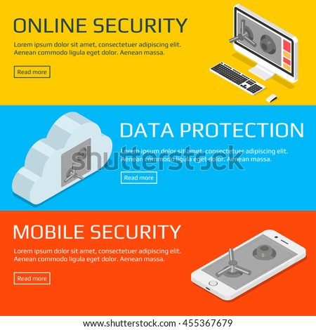 Security concepts. Set of horizontal banners. Isometric vector illustration  - stock vector