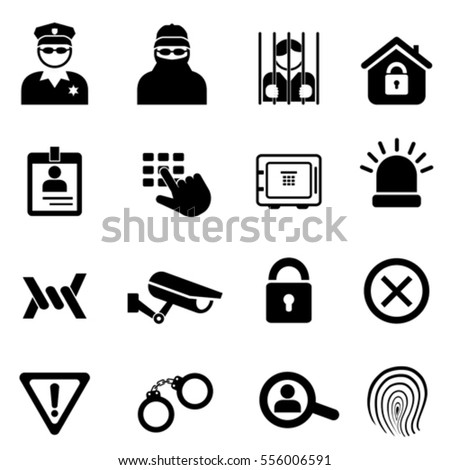 Security, crime and safety related icon set