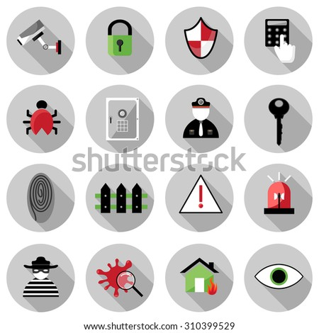 security flat icon set vector illustration design with long shadow isolated on white background. for web and mobile application