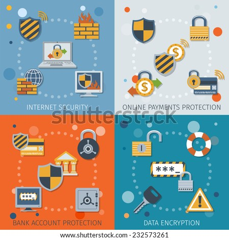 Security flat icons set with internet online payment protection bank account data encryption isolated vector illustration - stock vector