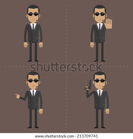 Security guard holds gun and showing gestures - stock vector