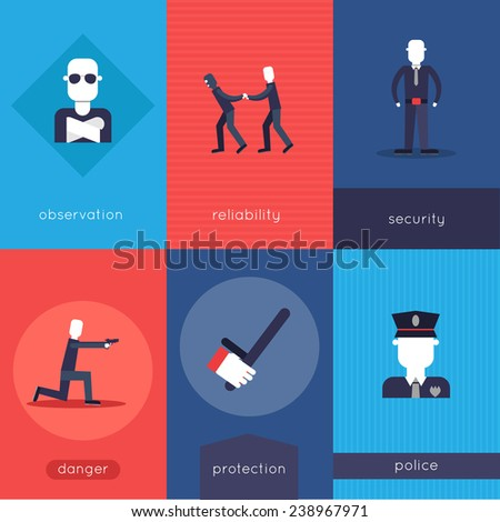 Security guard mini poster set with observation reliability security danger protection police isolated vector illustration - stock vector