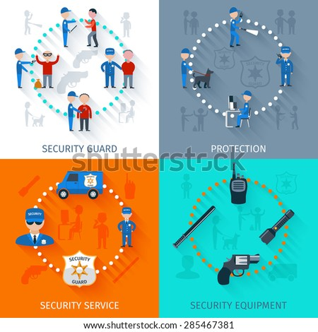 Security guard officer protective surveillance and equipment 4 flat icons square composition banner abstract isolated vector illustration - stock vector