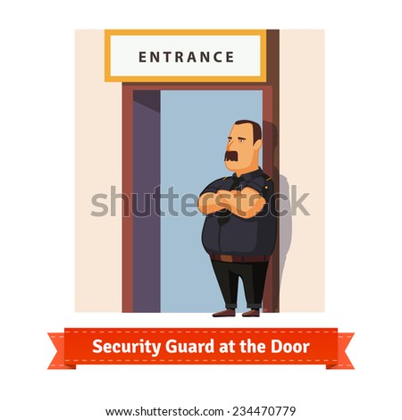 Security guard or bouncer working at the door. Flat illustration. EPS 10 vector. - stock vector