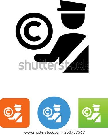 Security guard with copyright symbol. Vector icons for video, mobile apps, Web sites and print projects.  - stock vector