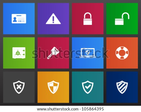 Security icon series in Metro style - stock vector