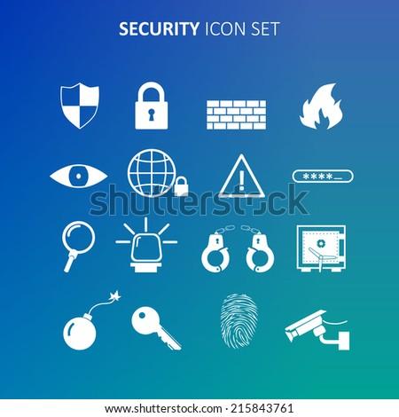 Security icon set - stock vector