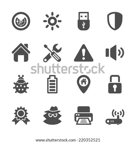 security icon set, vector eps10. - stock vector