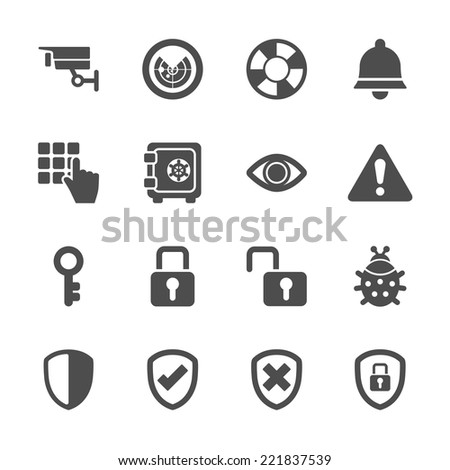security icon set 2, vector eps10. - stock vector