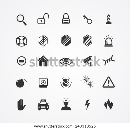 Security  icons collection - stock vector