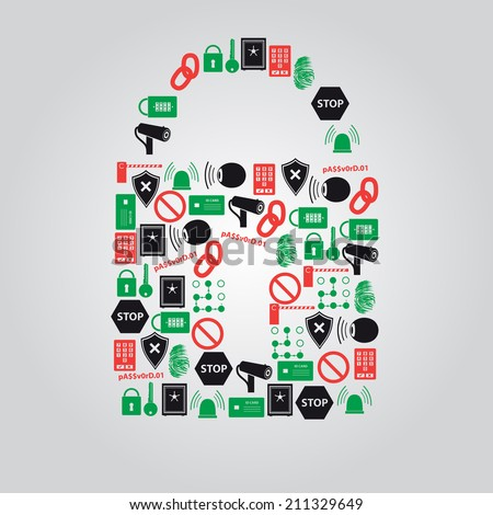 security icons in padlock shape eps10 - stock vector