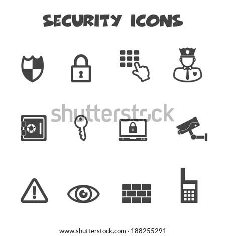 security icons, mono vector symbols - stock vector