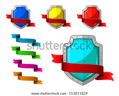 Security icons set with blazons and ribbons for internet design or idea of logo. Jpeg version also available in gallery - stock vector