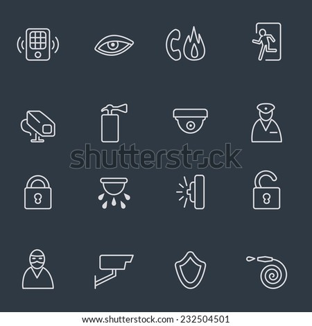 Security icons, thin line design, dark background - stock vector