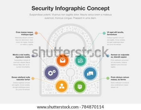 Security Infographic Concept Padlock Symbol Isolated Stock Vector