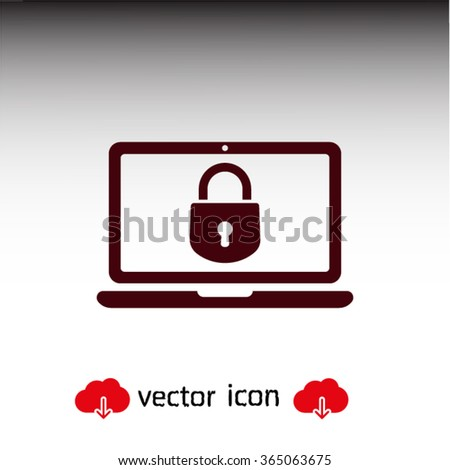 security laptop, protection icon. One of set web icons