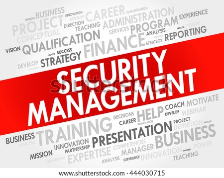 Security Management word cloud collage, business concept background - stock vector