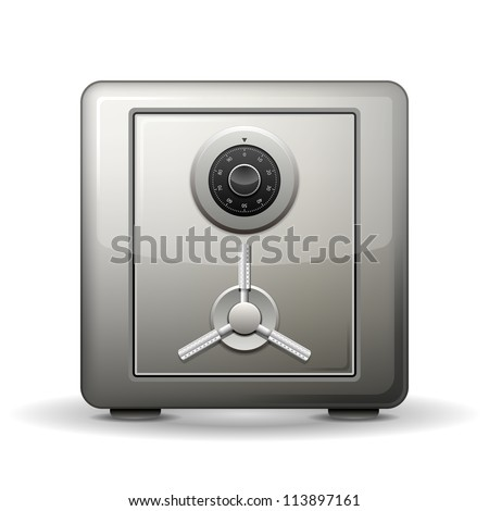 Security metal safe isolated on white. Vector illustration