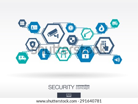 Security network. Hexagon abstract background with lines, polygons, and integrate flat icons. Connected symbols for guard, police, protection, monitoring, safety, control concepts. Vector illustration - stock vector
